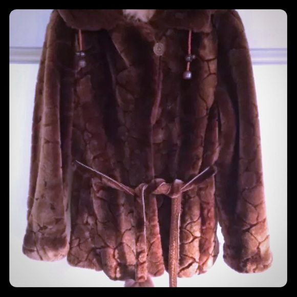 Jackets & Blazers - Stunning Sheared Mouton with Fox Tails on the Belt